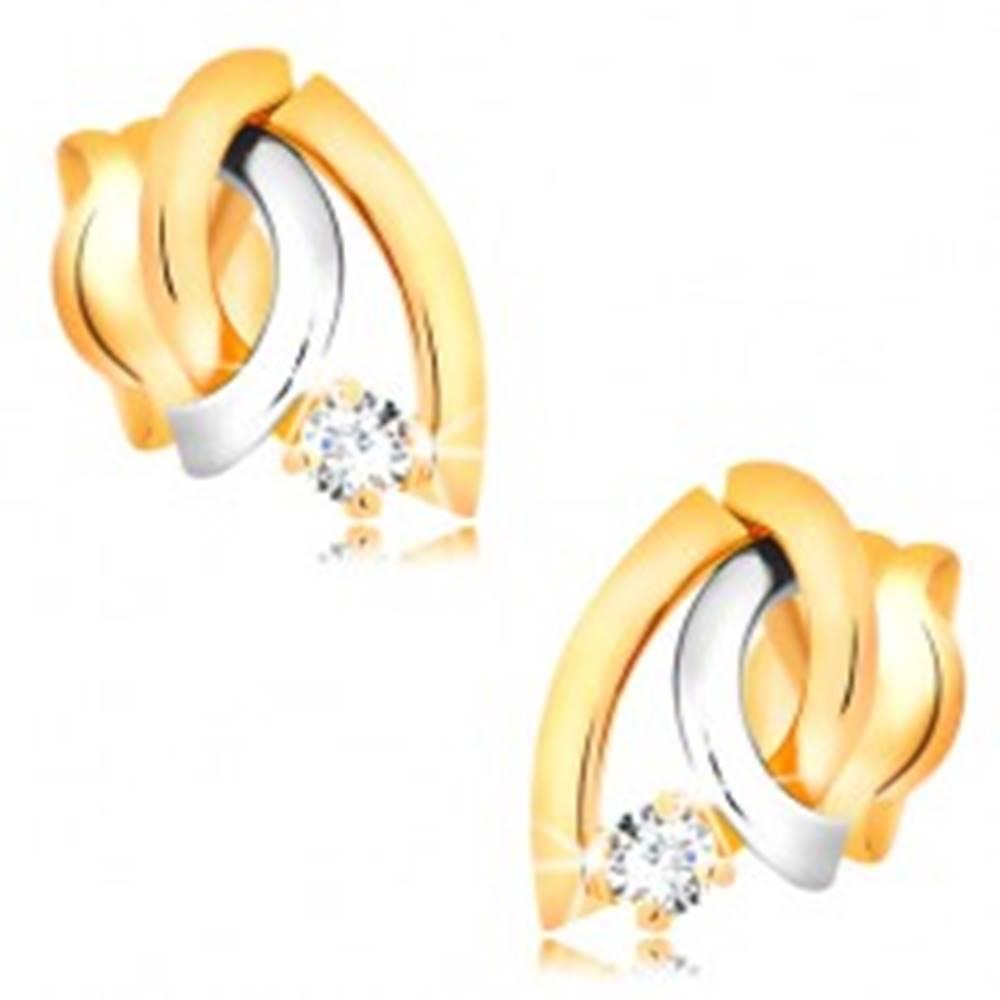 Šperky eshop Dvojfarebné náušnice v 14K zlate - tri zahnuté línie, okrúhly žiarivý briliant