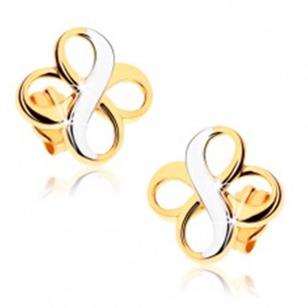 """Šperky eshop Dvojfarebné náušnice z 9K zlata - dva symboly """"INFINITY"""", ródiované"""
