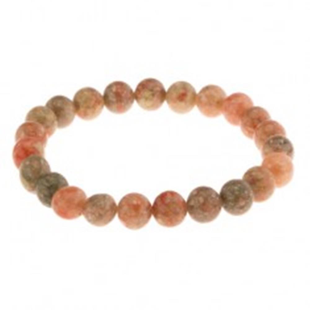Šperky eshop Elastický náramok, korálky z prírodného kameňa, zelené a oranžové odtiene