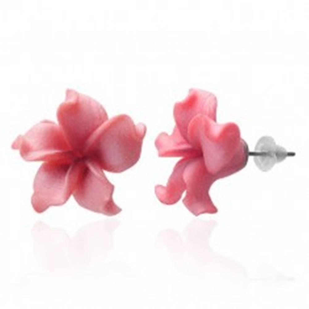 Šperky eshop Fimo náušnice kvietok - zvlnené ružové lupienky