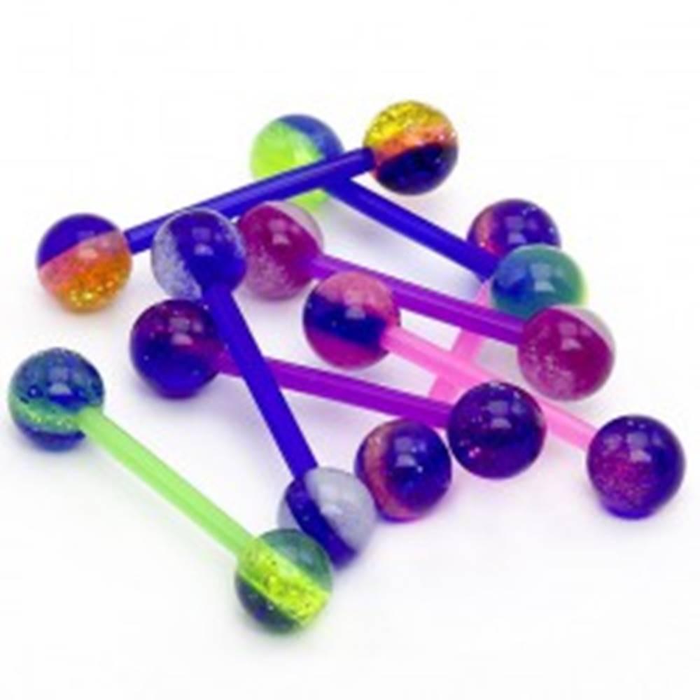 Šperky eshop Guľôčkový piercing do jazyka - farebné pásiky, glitre - Farba piercing: Biela - Modrá