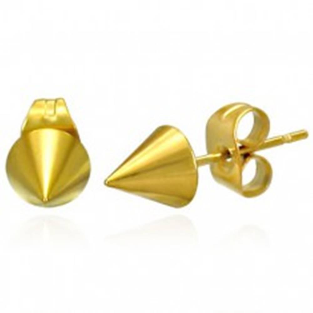 Šperky eshop Lesklé náušnice z ocele - ostrý špicatý kužeľ zlatej farby, puzetky
