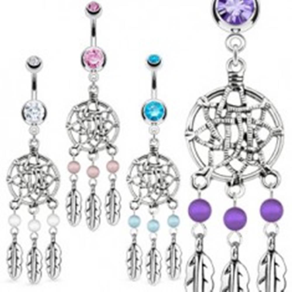 Šperky eshop Lesklý oceľový piercing do pupku - lapač snov, pierka, guľôčky - Farba zirkónu: Aqua modrá - Q