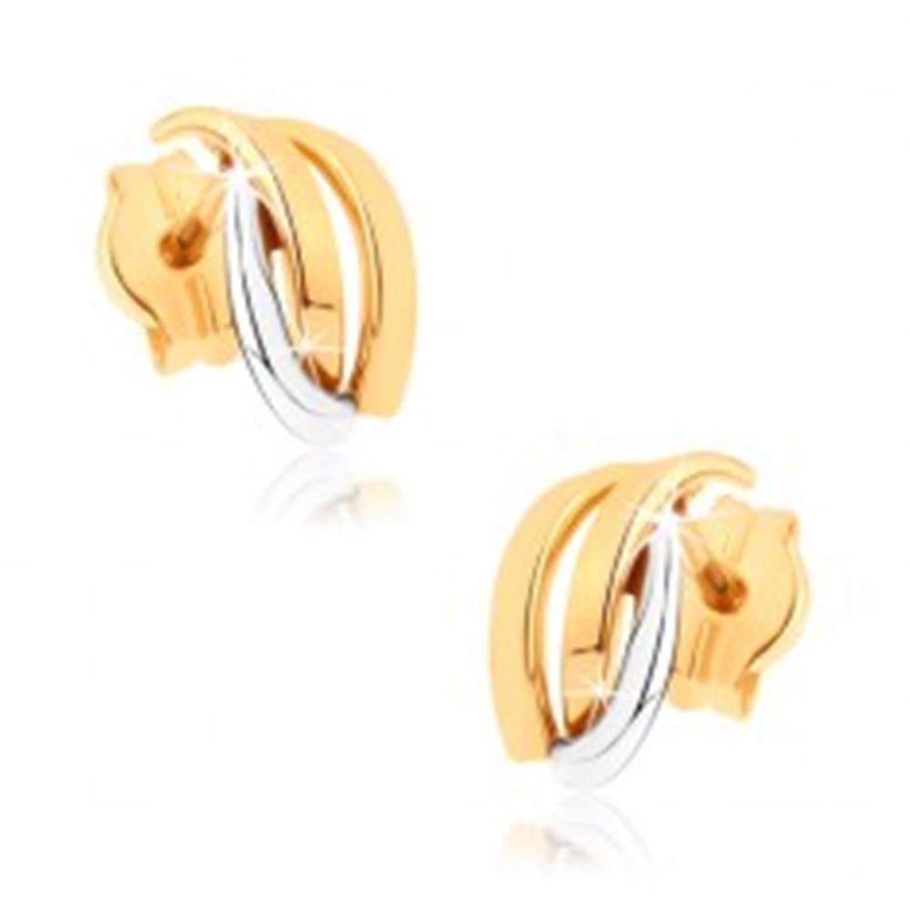 Šperky eshop Ligotavé náušnice z 9K zlata - dvojfarebné zahnuté línie