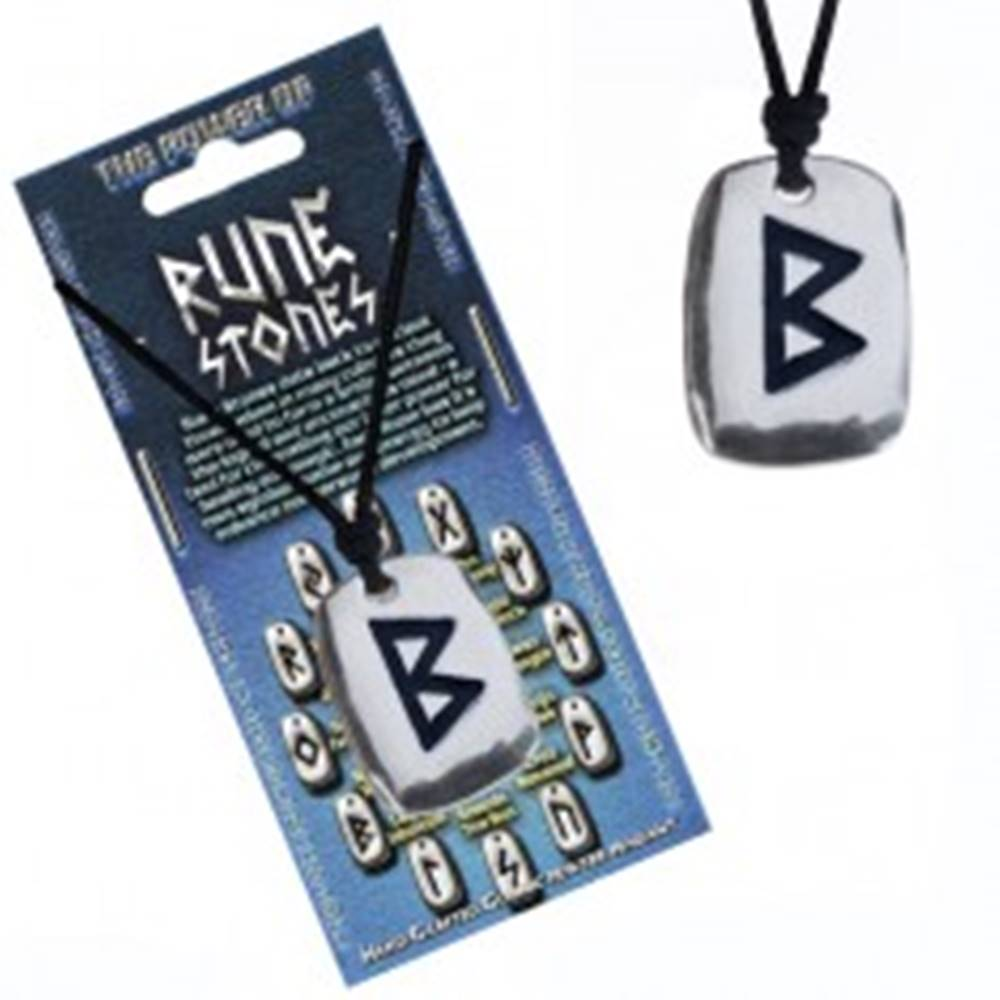 Šperky eshop Náhrdelník na krk so šnúrkou a kovovým štítkom, runa Berkana