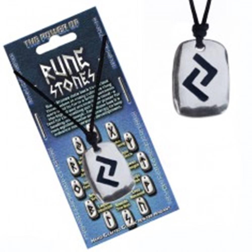 Šperky eshop Náhrdelník na krk so šnúrkou a kovovým štítkom, runa Jera