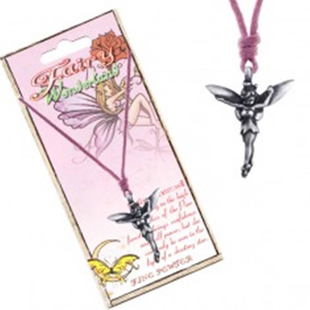 Šperky eshop Náhrdelník - ružová šnúrka, kovový prívesok, lesná víla