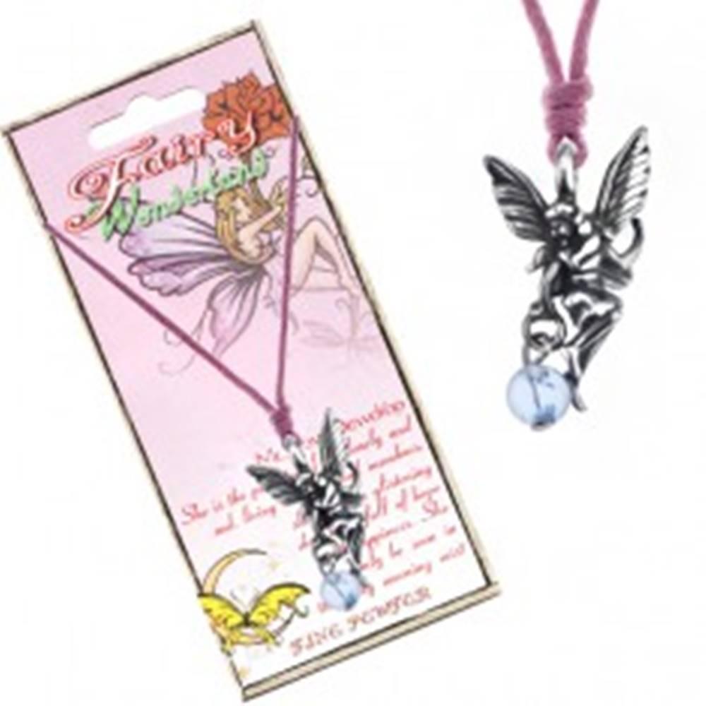 Šperky eshop Náhrdelník - ružová šnúrka, kovový prívesok víly s kvapkou vody