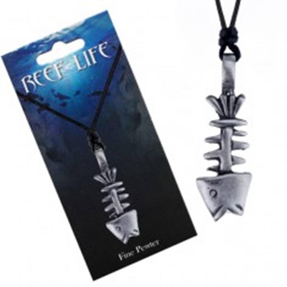 Šperky eshop Náhrdelník - šnúrka a kovový prívesok, patinovaná kostra ryby