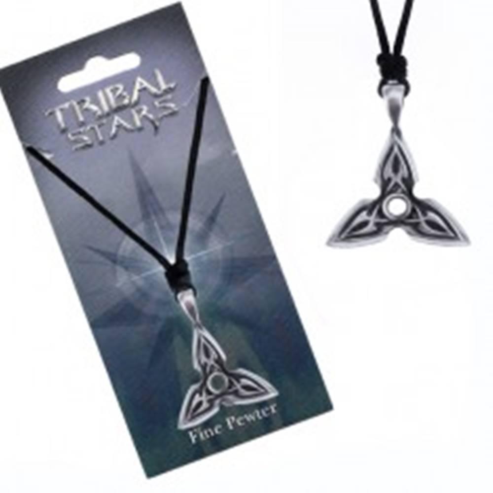Šperky eshop Náhrdelník - šnúrka, kovový prívesok, trojcípa hviezda, ornament