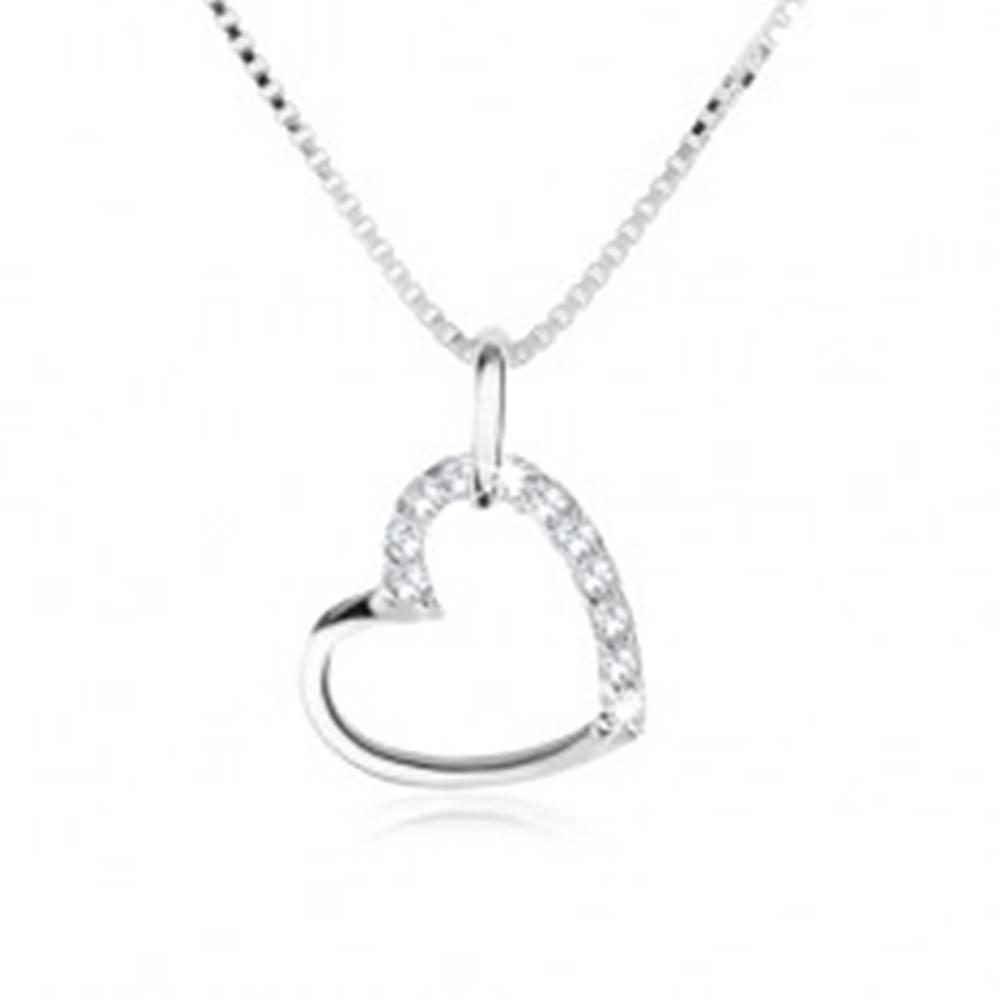 Šperky eshop Náhrdelník zo striebra 925, kontúra srdca spolovice vykladaná čírymi zirkónmi