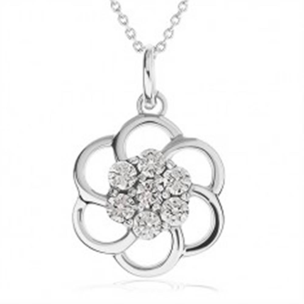 Šperky eshop Náhrdelník zo striebra 925 - obrys kvetu zdobený čírymi kamienkami, retiazka