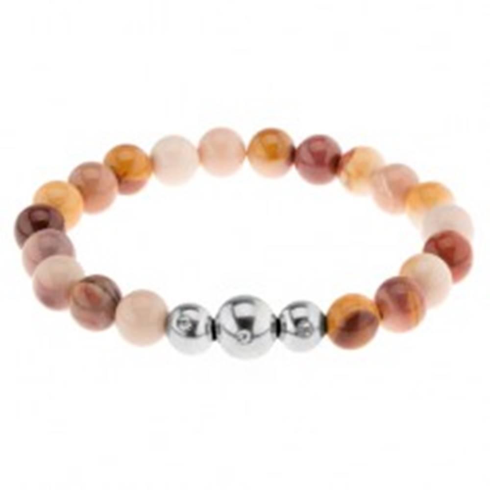 Šperky eshop Náramok na ruku, rôznofarebné guľaté kamienky, tri korálky z ocele