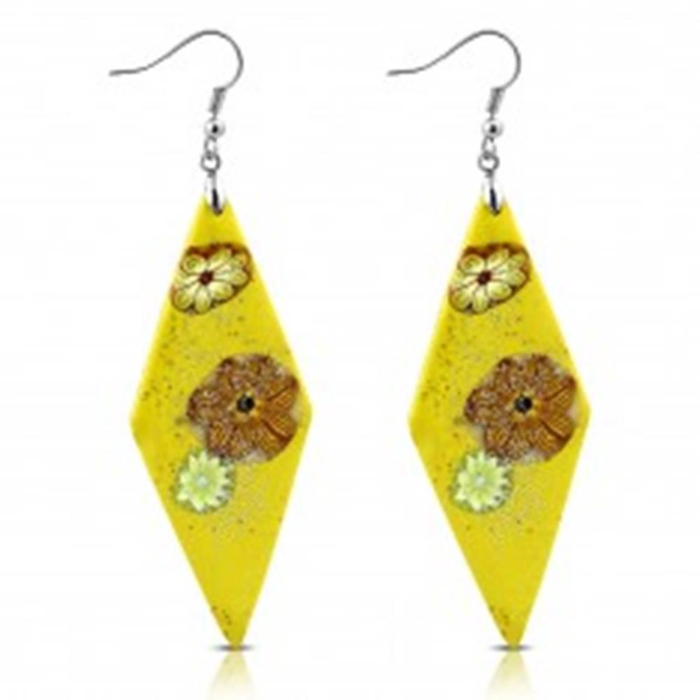Šperky eshop Náušnice Fimo - žlté kosoštvorce s kvetmi