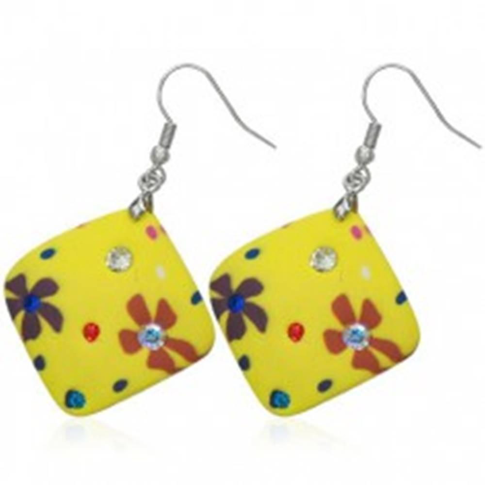 Šperky eshop Náušnice Fimo - žlté štvorčeky, kvietky a zirkóny