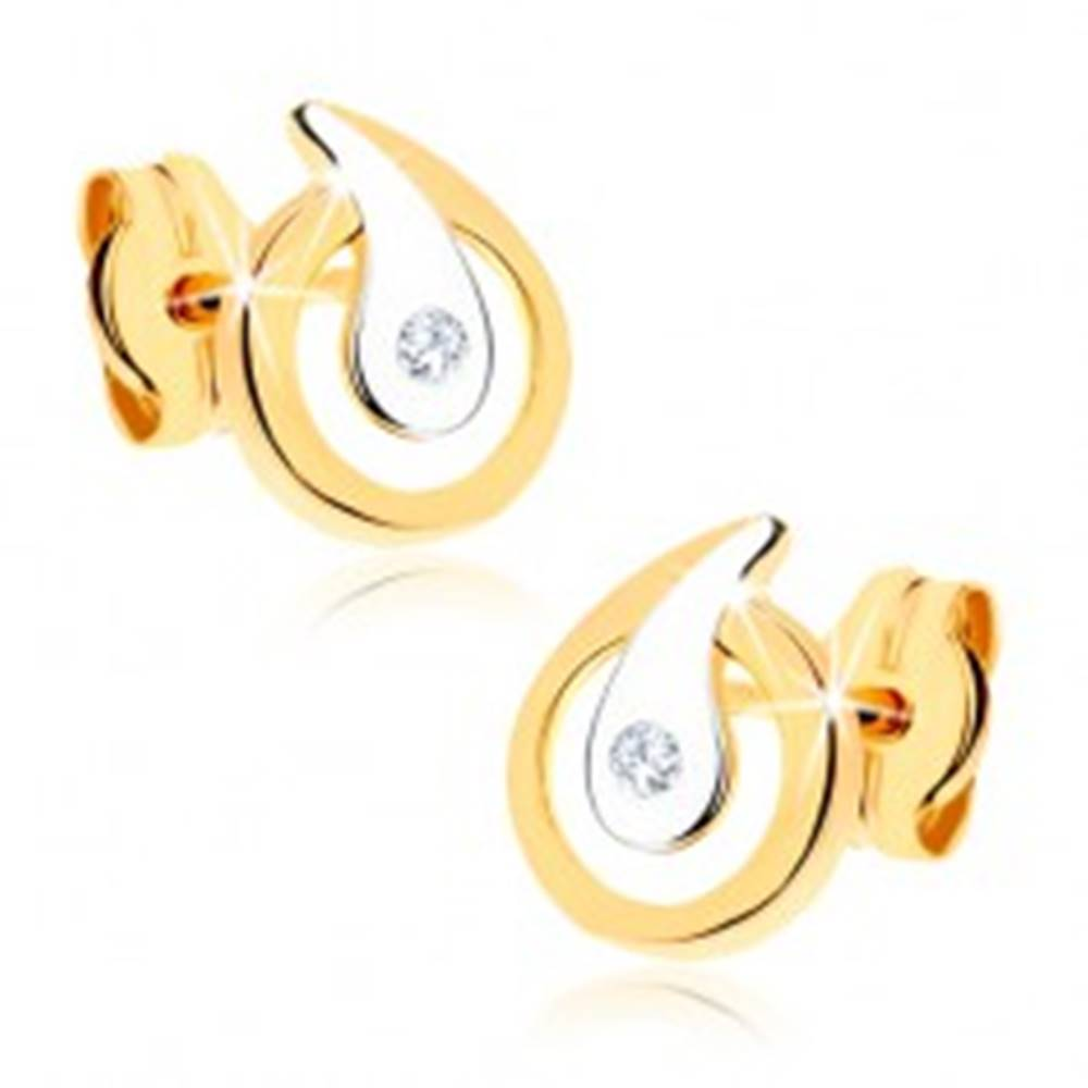 Šperky eshop Náušnice v 9K zlate - obrys kvapky s čírym ligotavým zirkónom, dvojfarebné