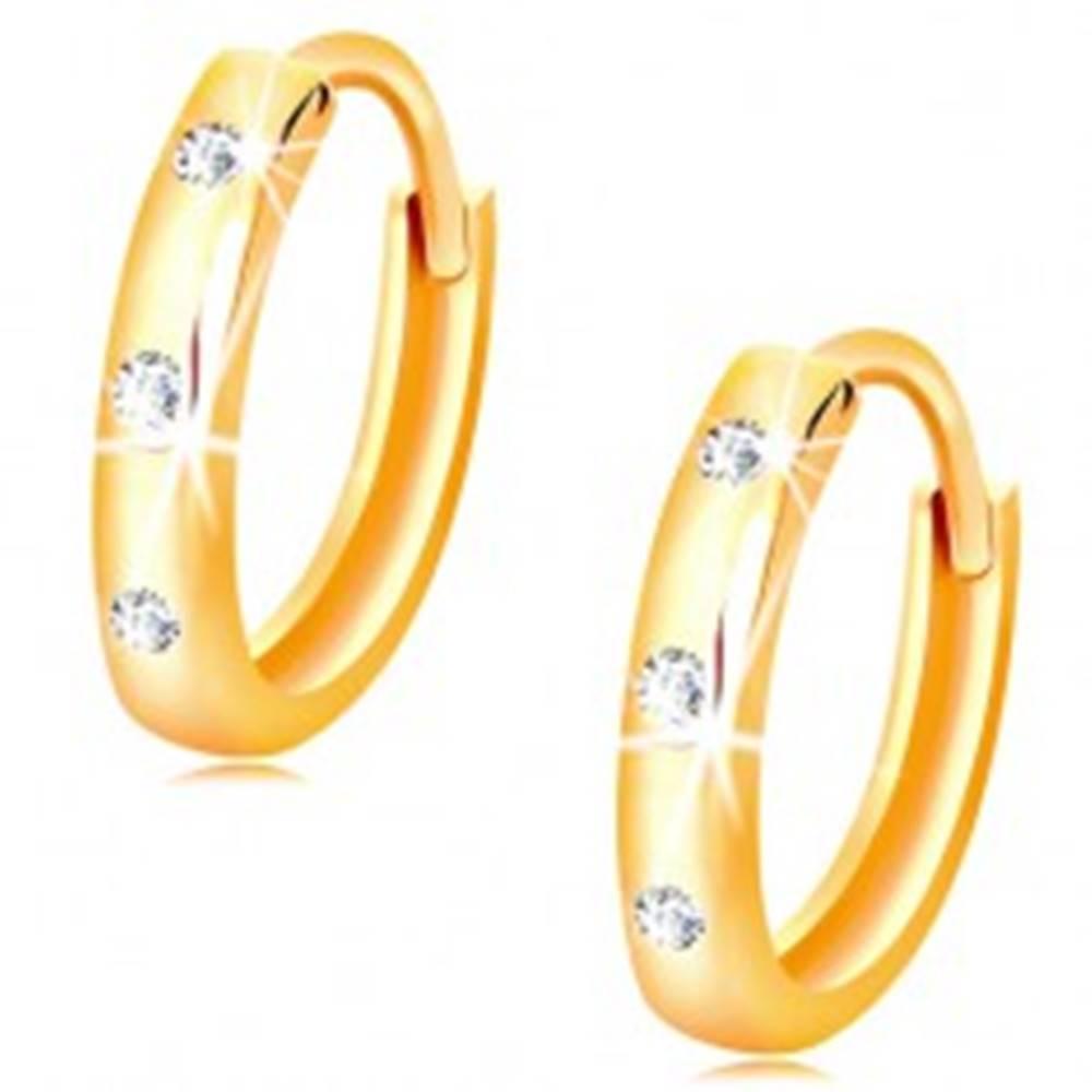 Šperky eshop Náušnice v žltom 14K zlate - malé lesklé krúžky zdobené čírymi zirkónmi