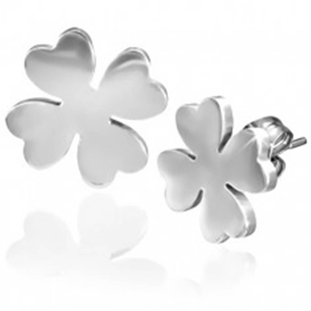 Šperky eshop Náušnice z chirurgickej ocele, štvorlístok pre šťastie, strieborná farba