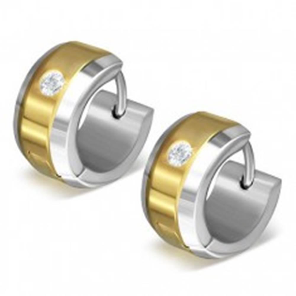 Šperky eshop Náušnice z ocele 316L v zlato-striebornej farebnej kombinácii, číry zirkón