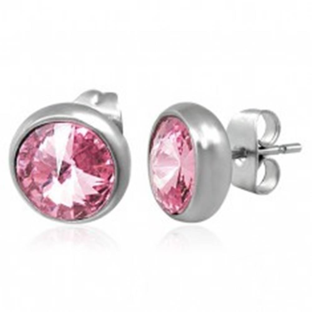 Šperky eshop Náušnice z ocele, veľké okrúhle ružové zirkóny, puzetové zapínanie