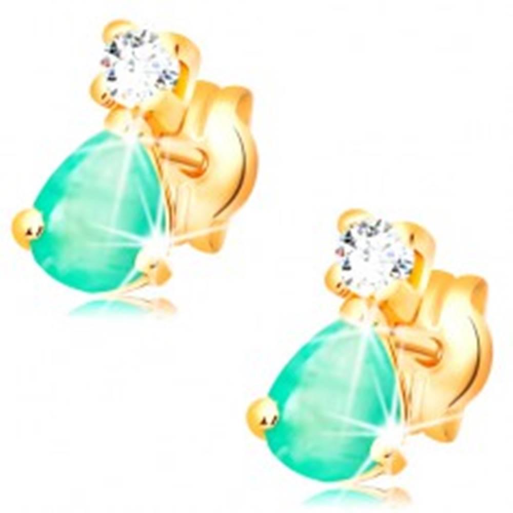 Šperky eshop Náušnice zo žltého 14K zlata - slzičkový zelený smaragd, okrúhly číry diamant