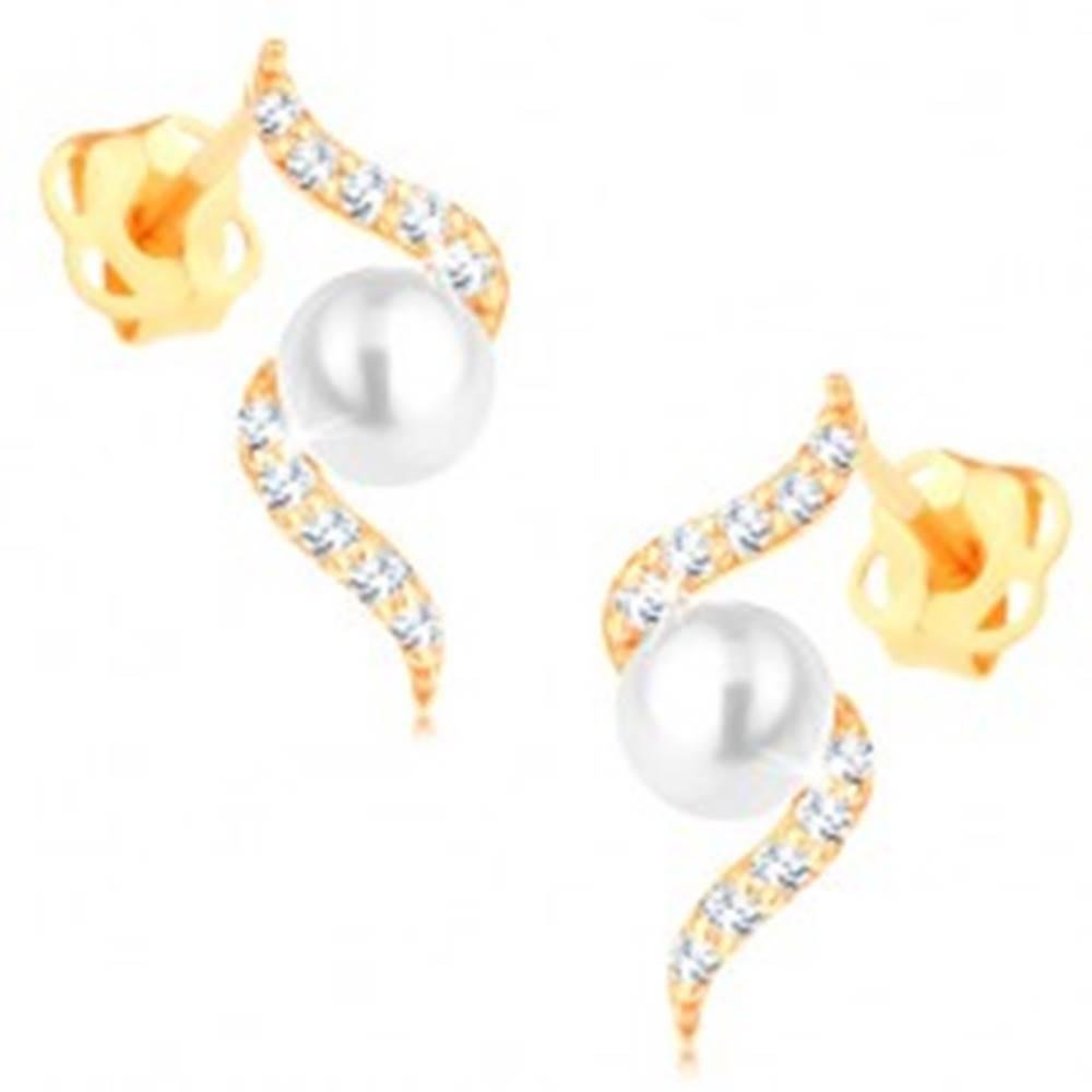 Šperky eshop Náušnice zo žltého 14K zlata - trblietavá špirála s perlou bielej farby