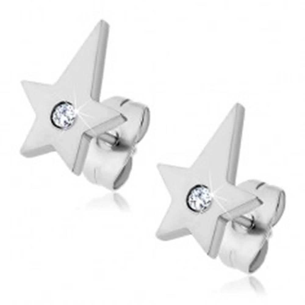 Šperky eshop Oceľové náušnice - kométa so zirkónom