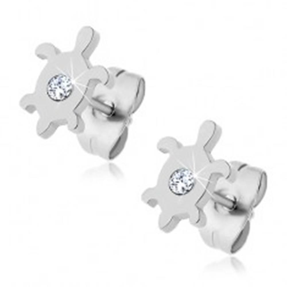 Šperky eshop Oceľové náušnice - korytnačka so zirkónom