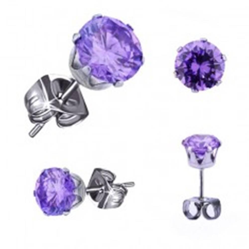 Šperky eshop Oceľové náušnice striebornej farby, okrúhly tanzanitový zirkón, 3 mm