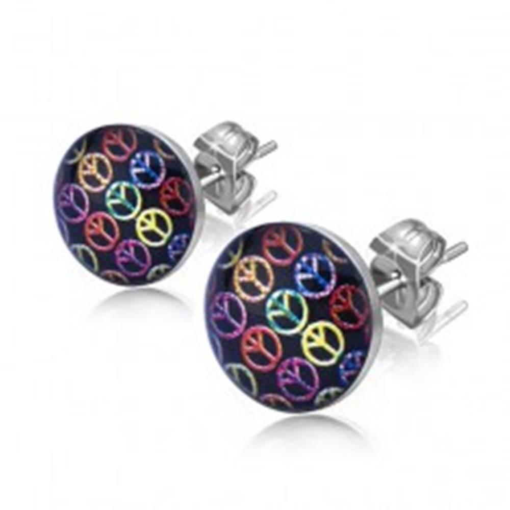 Šperky eshop Oceľové puzetové náušnice, farebné symboly mieru na čiernom podklade