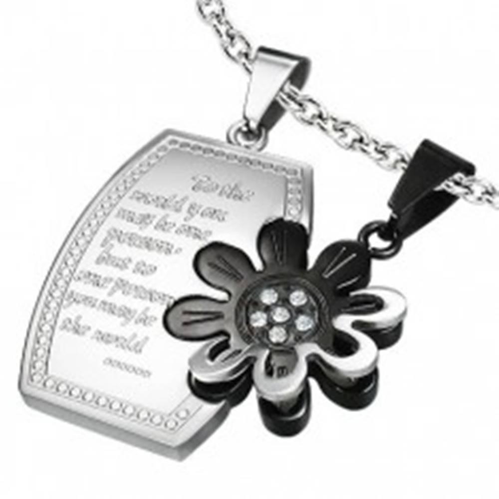 Šperky eshop Oceľový dvojprívesok - obdĺžnik, kvet a zirkóny