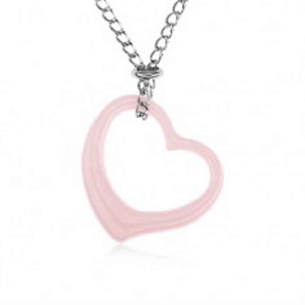 Šperky eshop Oceľový náhrdelník, ružová keramická kontúra srdca, retiazka striebornej farby