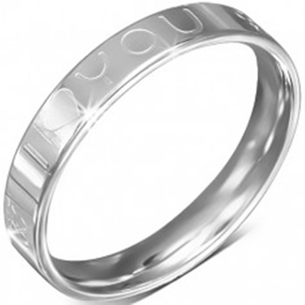 Šperky eshop Oceľový prsteň - obrúčka, nápis I LOVE YOU, symbol ženy a muža - Veľkosť: 49 mm
