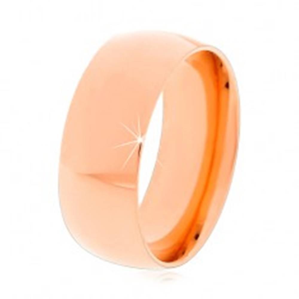 Šperky eshop Oceľový prsteň v medenom odtieni, lesklé zaoblené ramená, 8 mm - Veľkosť: 57 mm