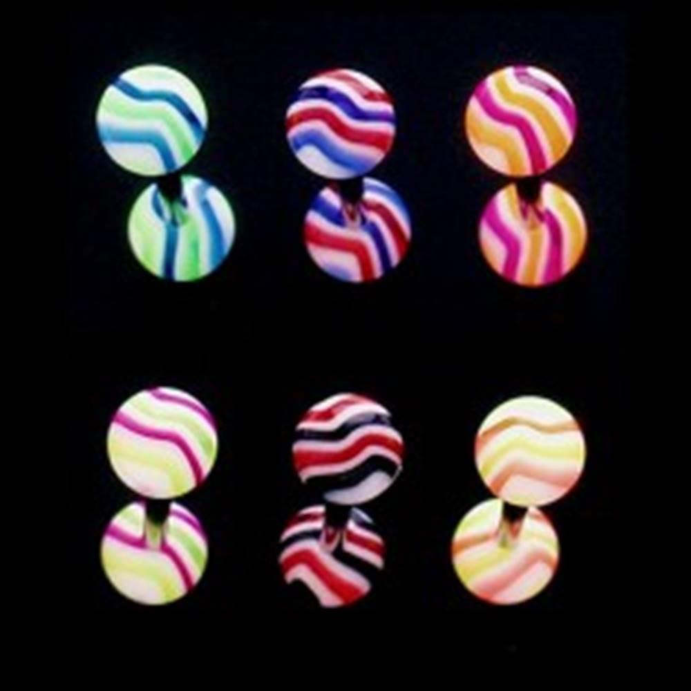 Šperky eshop Piercing do jazyka - farebné vlnky - Farba piercing: Čierná - Červená