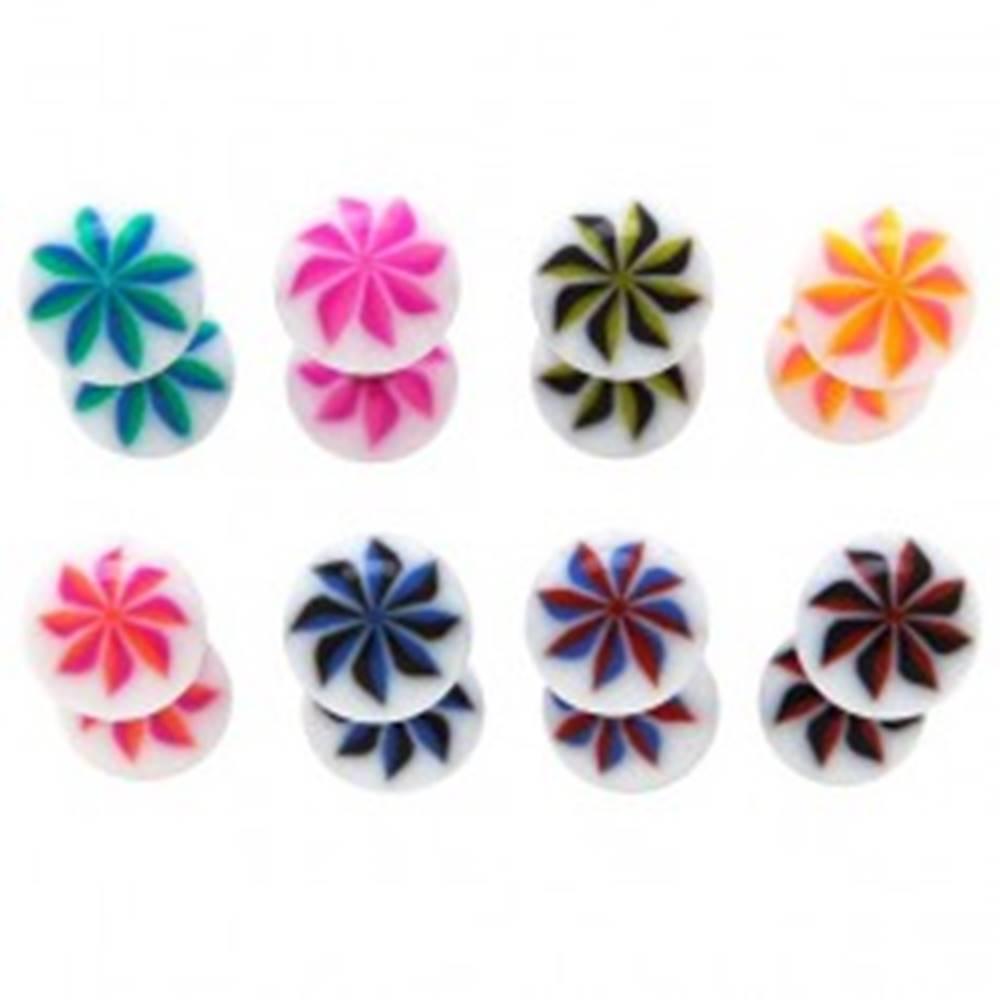 Šperky eshop Piercing do jazyka - UV guličky, NINJA STAR - Farba piercing: Červená - Modrá