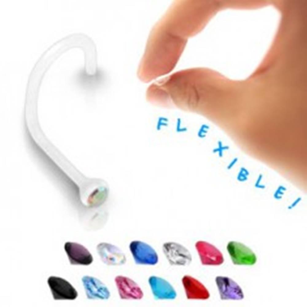 Šperky eshop Piercing do nosa BioFlex - číry so zirkónom - Farba zirkónu: Aqua modrá - Q
