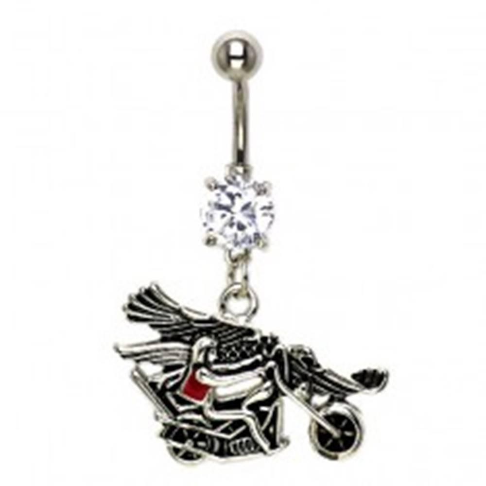 Šperky eshop Piercing do pupku jazdec na motorke s orlicou
