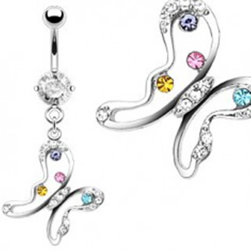 Šperky eshop Piercing do pupku - motýľ s farebnými zirkónmi