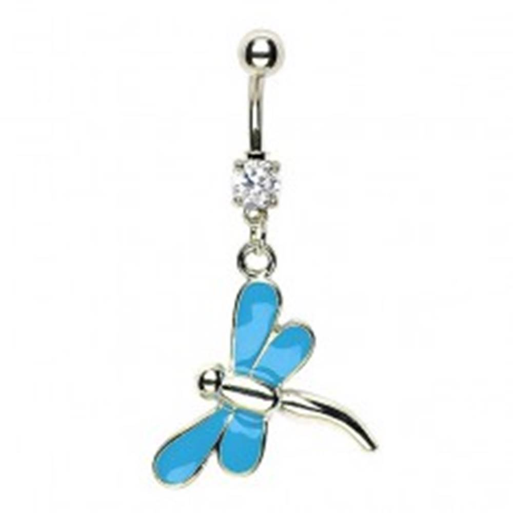 Šperky eshop Piercing do pupku vážka - modré krídla