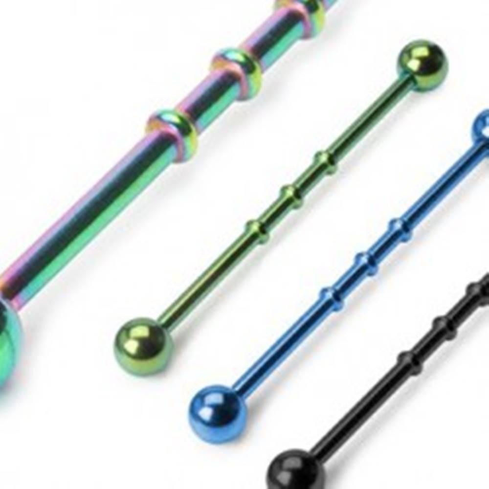 Šperky eshop Piercing do ucha anodizovaný s tromi výčnelkami - Farba piercing: Čierna