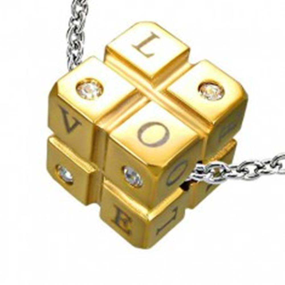 Šperky eshop Prívesok kocka z ocele - zirkóny a nápis - Rozmer: 11 mm x 11 mm x 11 mm