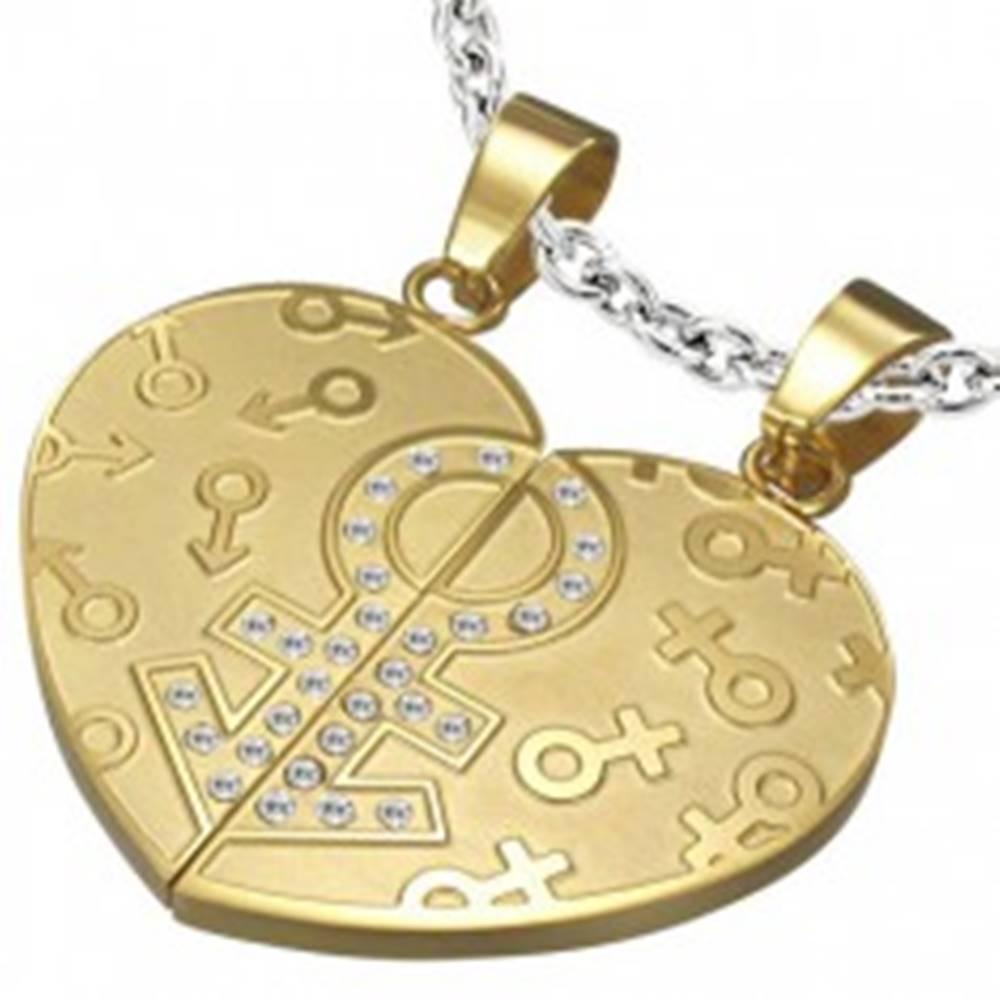 Šperky eshop Prívesok rozpolené srdce - znaky pohlaví, zirkóny