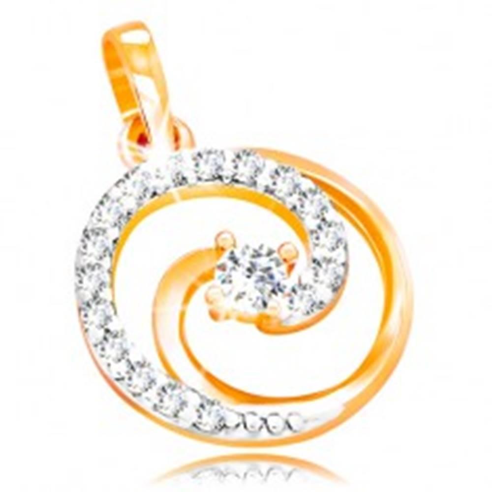 Šperky eshop Prívesok v 14K zlate - kontúra kruhu s trblietavou špirálou a čírymi zirkónmi