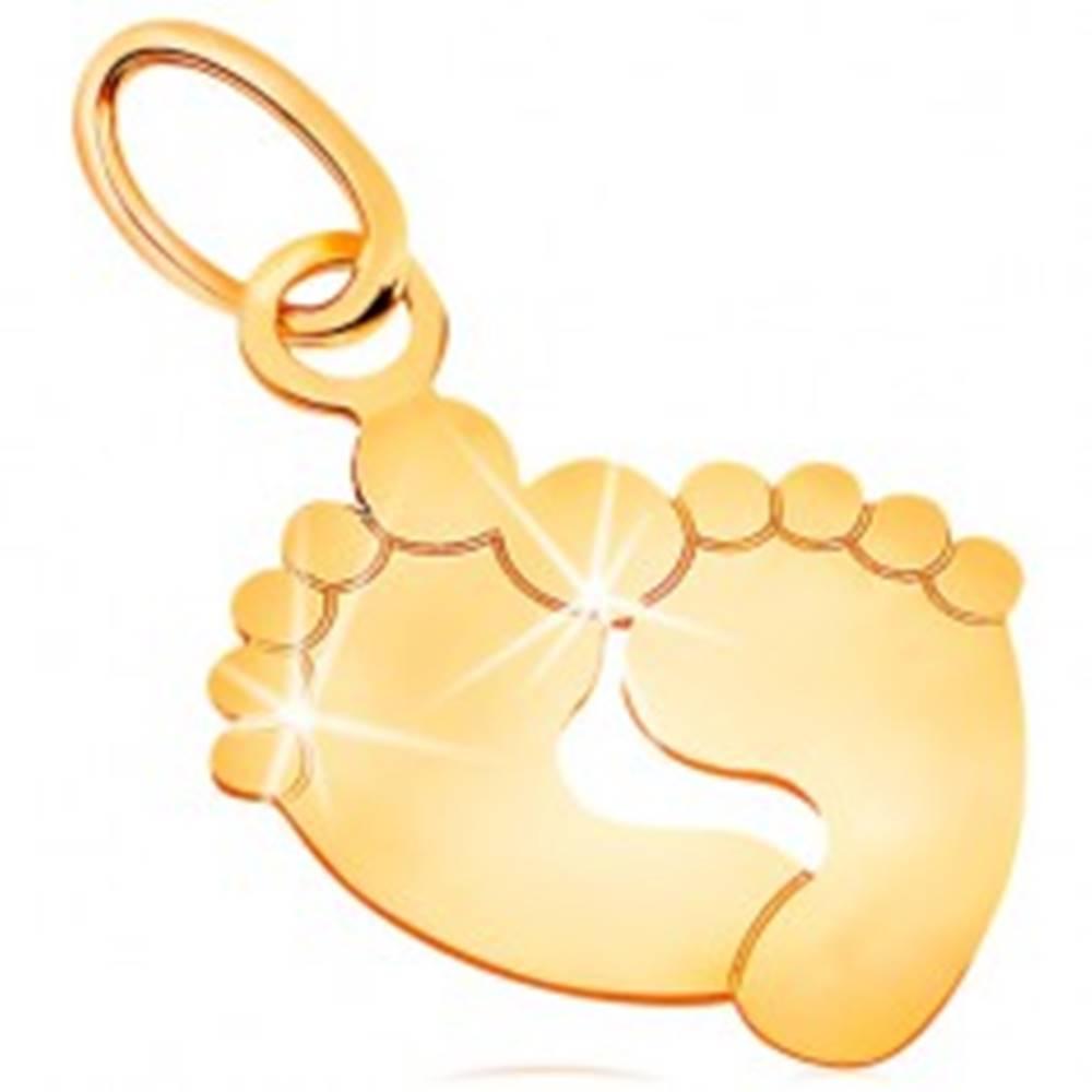 Šperky eshop Prívesok v žltom zlate 585 - dva odtlačky chodidiel, lesklý a plochý povrch