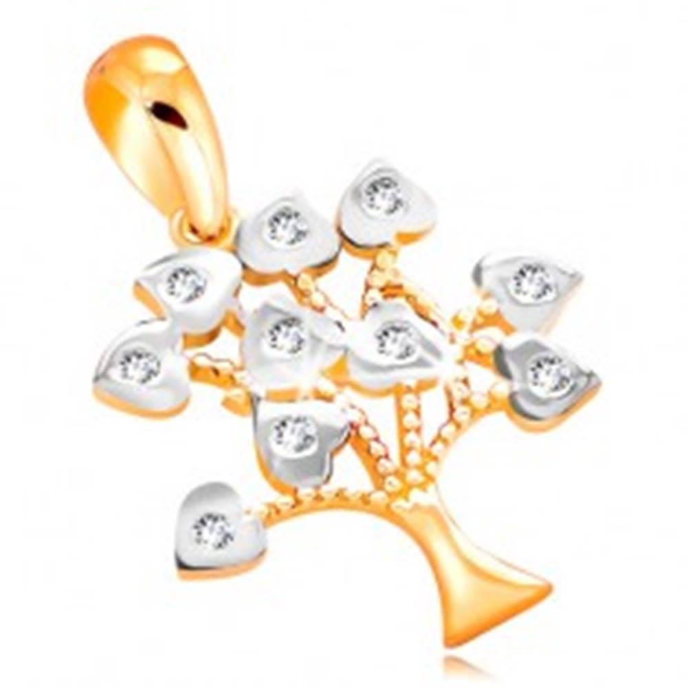 Šperky eshop Prívesok zo 14K zlata - stromček šťastia, listy zdobené bielym zlatom a zirkónmi