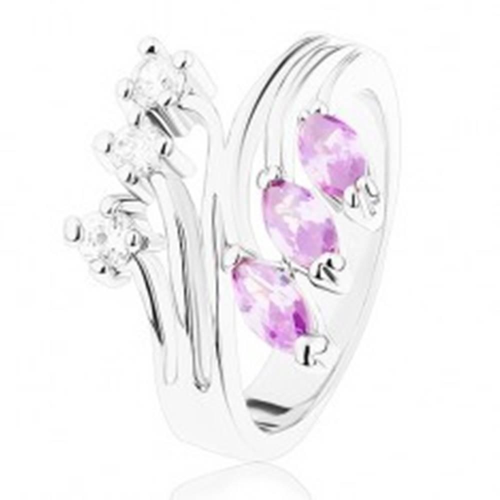 Šperky eshop Prsteň v striebornej farbe, rozvetvené ramená, fialové a číre zirkóny - Veľkosť: 53 mm