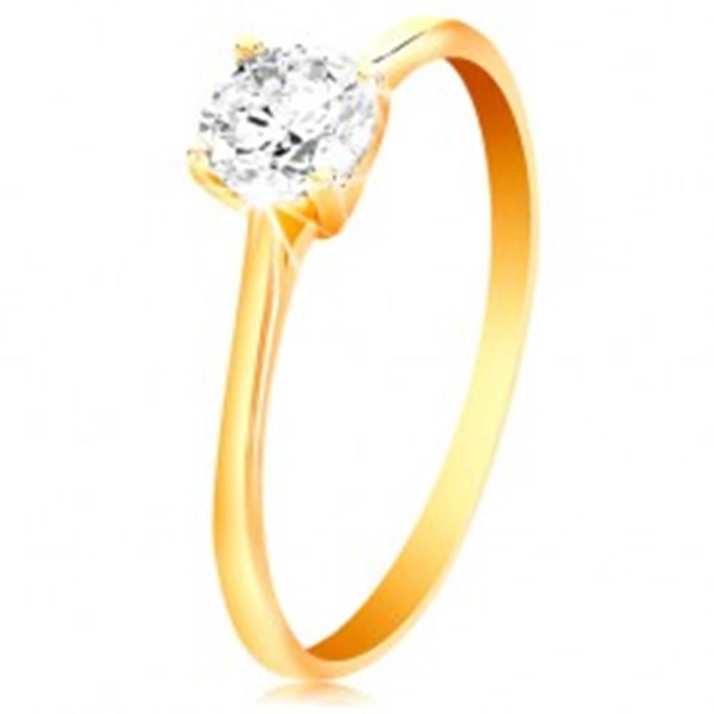 Šperky eshop Prsteň v žltom 14K zlate - žiarivý číry zirkón v lesklom vyvýšenom kotlíku - Veľkosť: 49 mm
