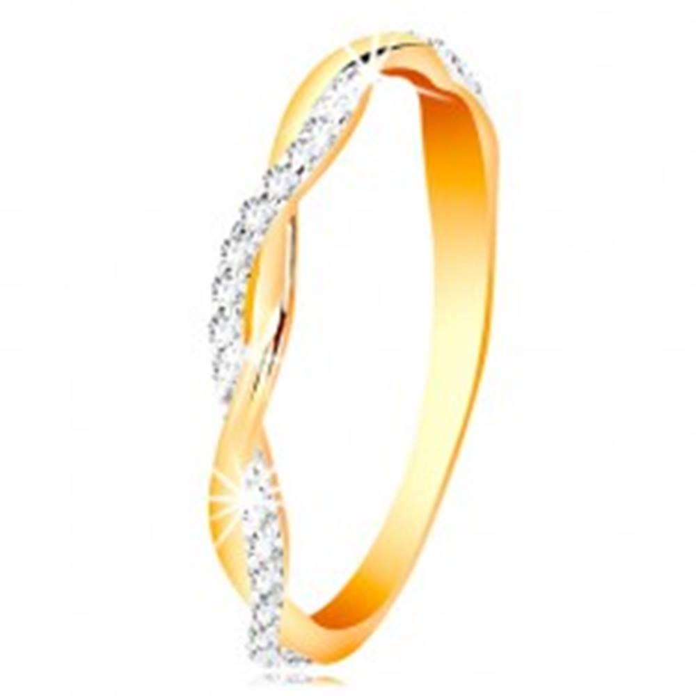 Šperky eshop Prsteň zo 14K zlata - dve tenké prepletené vlnky - hladká a zirkónová - Veľkosť: 49 mm