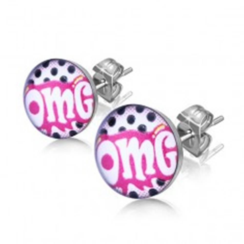 """Šperky eshop Puzetové náušnice z chirurgickej ocele, biely nápis """"OMG"""" na ružovom podklade"""